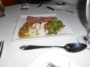 blackened filet mignon and colossal crab appetizer
