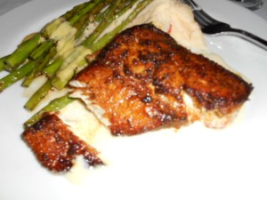 bronzed cobia with lobster mashed potatoes and grilled asparagus with Bearnaise sauce