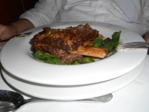DH's braised short ribs with fire-roasted beefsteak tomatoes and caramelized onion blue cheese, and sauteed spinach