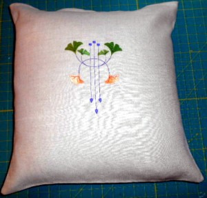 linen remnant gingko pillow