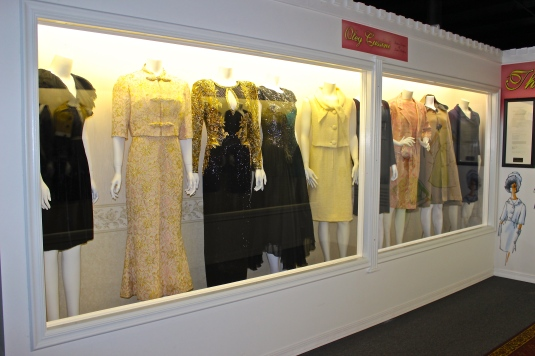Jackie Kennedy outfits on display at Roscoe, IL Car Museum
