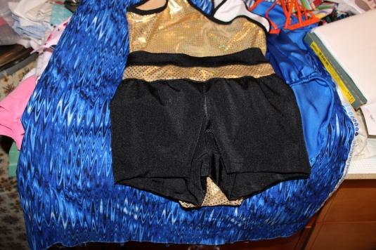 leotard and shorts