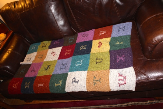 hand sewn knitted blanket