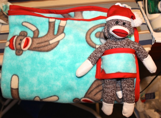 sock monkey blanket & toy